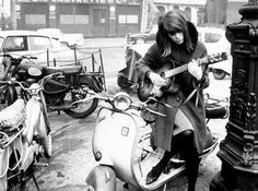 """modrules: """" Françoise Hardy on a Vespa Scooter found on Fashion, Music & Stuff from the and """" Moto Scooter, Lambretta Scooter, Vespa Scooters, Françoise Hardy, Vintage Vespa, Vespa Girl, Scooter Girl, Triumph Motorcycles, Motocross"""
