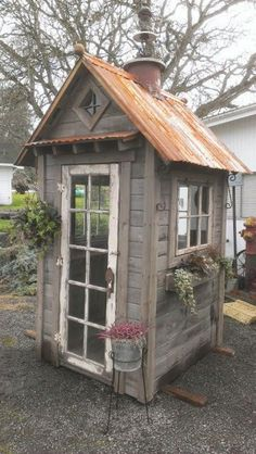 Rustic Garden Shed. Perfect for what you need it for! Rustic Garden Shed. Perfe… - Garden Shed Garden Cottage, Home And Garden, Diy Garden, Wooden Garden, Little Free Libraries, Free Library, Rustic Shed, Greenhouse Shed, Cheap Greenhouse