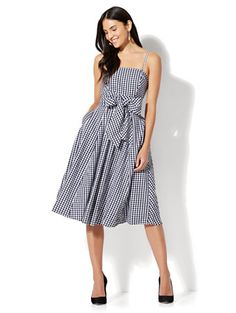 Shop Gingham Flare Dress. Find your perfect size online at the best price at New York & Company.