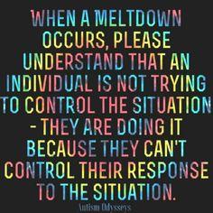 Meltdowns with ASD