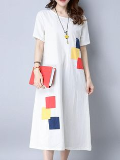 Vintage Patchwork Short Sleeve Pocket Women Mid-Long Dresses
