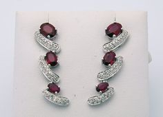 3.7 Carat Red Ruby and Diamond Drop Earrings 18K White Gold $975