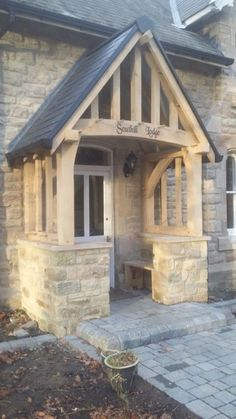 Elegant and Decorative Porch Canopy porch canopy image is loading oak-porch-doorway-wooden-porch-canopy-entrance-self- GBWZJHT Cottage Front Doors, Front Door Porch, Cottage Porch, Front Porch Design, Porch Roof, Porch Swing, Porch Entrance, Front Door Canopy, Cottage Exterior
