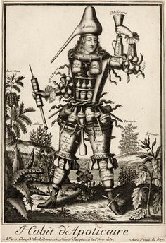 Habit d'Apoticaire. Tradesman & Peddler Caricatures by Nicolas de l'Armessin II. See: https://pinterest.com/pin/287386019948802220