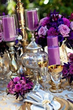 Tablescape Centerpiece ● Purple passion  www.tablescapesbydesign.com https://www.facebook.com/pages/Tablescapes-By-Design/129811416695