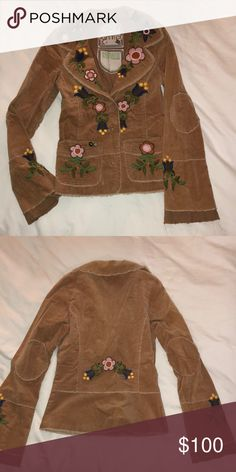 Joystick Hand Embroidered Jacket - Size Small Joystick Hand Embroidered Jacket - Size Small 97% Cotton 3% Spandex   Length:  24 inches  Arm Length: 26 inches  Waist: 14 inches   NWO Tags - Never Worn Joystick Jackets & Coats