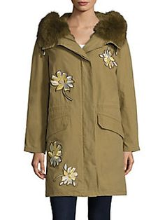 Army by Yves Salomon - Fur Trim Floral Patch Parka. www.italianist.com