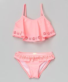 Another great find on #zulily! Coral Floral Cutout Ruffle Bikini - Toddler by Kaleidoscope #zulilyfinds