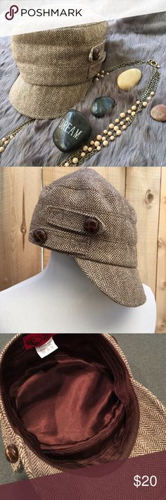 Herringbone Cadet Cap/Hat Two large plastic leather look buttons on both sides of hat. Herringbone cadet style cap/hat is brown & cream. Also has brown satin lining. Content is a blend of Polyester & wool. In excellent condition with NO damage. San Diego Hat Company Accessories Hats