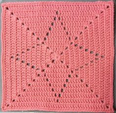 Today's square: Star Size: 12 inch Pattern By: I made it up Hook: H Yarn: mystery yarn Rose. Notes: I just made this up as I went along. It's so simple I don't know if I should bo…