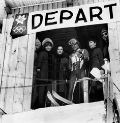 Audrey Hepburn, Doris Brynner, Olympic skier Jean-Claude Killy and Jacqueline de Ribes at the French Alps during the Winter Olympic Games, 1968.