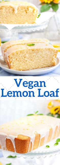 This easy vegan lemon loaf cake is super moist and topped with a lemon icing. Th… This easy vegan lemon loaf cake is super moist and topped with a lemon icing. The best lemon cake recipe that's free of dairy and eggs! Best Lemon Cake Recipe, Lemon Loaf Cake, Vegan Lemon Cake, Vegan Cake, Dairy Free Lemon Cake, Lemon Bread, Vegan Cupcakes, Healthy Vegan Desserts, Vegan Dessert Recipes