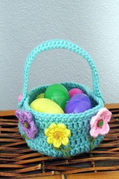handmade crocheted easter basket