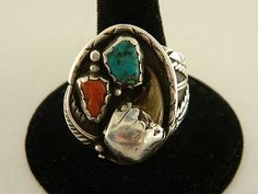Sterling Silver 925  Turquoise Red Coral