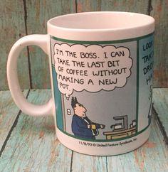 Dilbert Comic Strip Coffee Mug Cup Boss Coffee Pot Office Job Scott Adams Tea Mugs, Coffee Mugs, Dilbert Comics, Boss Coffee, Scott Adams, Mugs For Men, Cool Mugs, Coffee Drinkers, Mug Cup