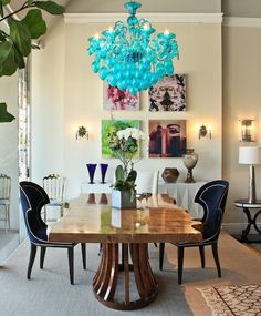 The chandelier catches your eye, but the table is the real star of this room...