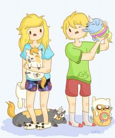 finn and Fiona playing with jake and cakes cats