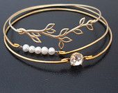 White Pearl Bangle Bracelet  - Gold Filled. $23.95, via Etsy.