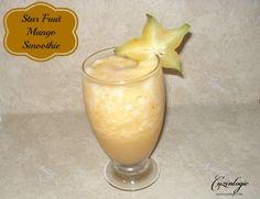 The Star Fruit Mango Smoothie is the perfect summer drink recipe. With star fruit, mango, cinnamon, honey, lemon sorbet and orange juice.