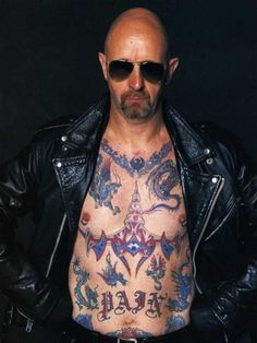Rob Halford doesn't seem to know what he's meant to be doing in this picture.