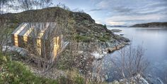 norwegian architectural practice TYIN tegnestue architects have created this fishing shed for catching, gutting and cooking fish. The sides lift up to open it to the deck, it's beautiful and simple.