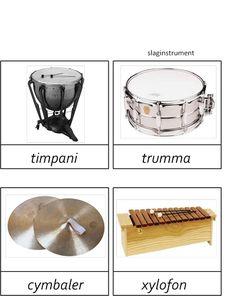montessorimaterial - Learn Swedish, Swedish Language, Music Pictures, Speech Therapy, Dog Bowls, Montessori, Instruments, Barn, School