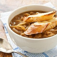 Slow-Cooker French Onion Soup Recipe - Cook's Country from Cook's Country ~ check ingredients for hidden gluten French Onion Soup Recipe Slow Cooker, Vegan French Onion Soup, Onion Soup Recipes, Onion Soups, Slow Cooker Recipes, Crockpot Recipes, Cooking Recipes, Cooks Country Recipes, Crock Pot Cooking