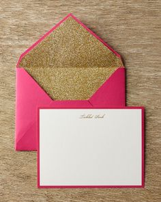 Kate Spade 'Tickled Pink' Correspondence Cards with Glitter Lined Envelopes