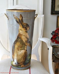 French Metal Flower Bucket French Hare Bleu. USA artist Robin King creates designs inspired by her collection of antique prints, textile designs + French toile fabrics.  Every one of her items is made to order + by her hand with a 12-step process that includes her own signature antique crackle finish.