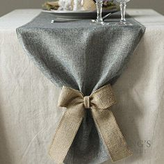 "Ling's moment Gray Linen Table Runner 14"" x 72"" For Wedding Party Baby Shower Decorations Fall Decor (Come With Natural Burlap Bow Ties)"