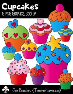 Cupcakes clip art:  fun and bright cupcake graphics that are perfect for your educational  products, classroom decor, or scrapbookers.  TeacherKarma.com