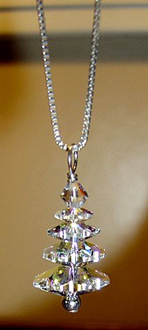 "Swarovski crystal Christmas tree necklace on 18"" sterling silver chain. Beautiful!"
