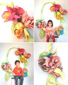 Floral Wreath Photo Backdrop DIY | Oh Happy Day!  (Was thinking of adapting it for different party themes.  Should have taken kids' photos in front of Emma's rainbow birthday balloons.)
