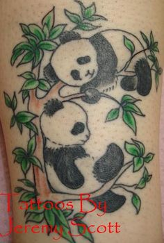 need 3 pandas, two bamboo poles, but general idea of pandas and plant together Leg Tattoo Men, Leg Tattoos, Tattoos For Guys, Cool Tattoos, Tribal Butterfly Tattoo, Dragonfly Tattoo, Panda Bear Tattoos, Henna Tattoo Designs, Tattoo Ideas
