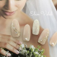 Bride nail # perfect for an important day # All… 35 Simple Ideas for Wedding Nails Design 1 Simple Wedding Nails, Wedding Manicure, Wedding Nails Design, Simple Nails, Trendy Wedding, Gorgeous Nails, Love Nails, Nail Art Designs, Bride Nails