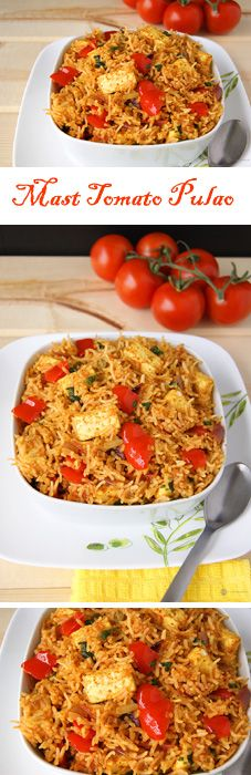 Mumbai Mast Tomato Pulao - A wonderful Mumbai street food styled rice with loads of flavor. Vegans can use tofu instead of paneer.