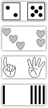 Common Core: Be Wise-Subitize, Developing Instant Recognition of Quantities. The ability to subitize, or instantly recognize small arrangements of items, is a foundational math skill. A few minutes of highly engaging practice each day is all it takes to develop this skill.  This group of cards includes dice patterns, tally marks, hearts, and finger patterns. Includes instructions for how to use the cards in the classroom.  Great for whole group or small group instruction. $