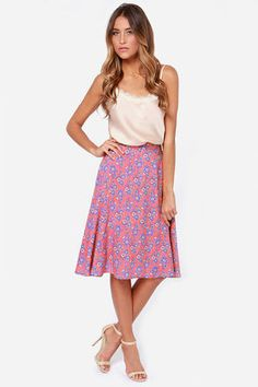Bed of Posies Coral Floral Print Midi Skirt at Lulus.com! And it's long enough!!!!!