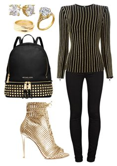 """Untitled #1520"" by cecilia-rebecca-stagrum-buch on Polyvore featuring J Brand, Gianvito Rossi, MICHAEL Michael Kors, Balmain, Cyrus and Repossi"