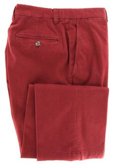 New Luciano Barbera Red Solid Pants - Slim - 34/50 Made In: Italy. Fabric Type: Stretch. Retail Price: $750.00.  #LucianoBarbera #Apparel