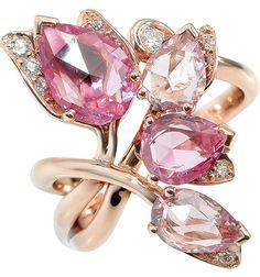 Pink gold Diamonds Pink sapphires Glycine ring, Mathon Paris