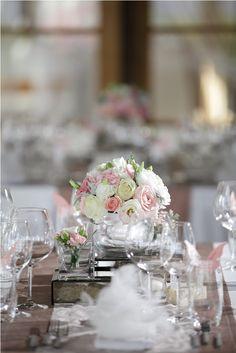 Rose & Lisianthus in Pink and White Centerpiece by Tirtha Bridal Uluwatu Bali