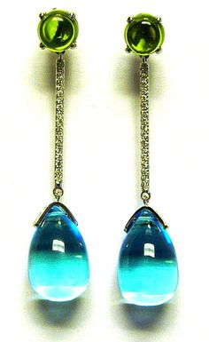They look like the ocean :-) ... Blue topaz and peridot cab drop earrings with diamonds in 18k white gold - Goshwara