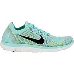 "Nike Women's ""Free 4.0 Flyknit"" Sneakers ($120) ❤ liked on Polyvore featuring shoes, sneakers, zapatillas, blue, lace up flat shoes, low profile sneakers, lace up shoes, nike trainers and velvet sneakers"