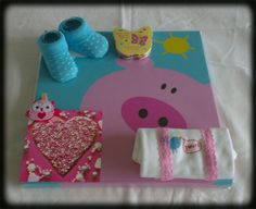 Canvas met kado's en een kaartje/Canvas with baby gifts and a card pink