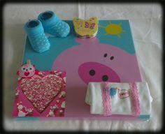 Canvas met kado's en een kaartje/Canvas with baby gifts and a card pink
