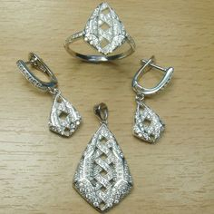 Micro Setting White CZ 925 Sterling Silver Fancy Shape Carving Full Jewelry Set