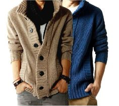 Wool Men's  Sweater Thick Cardigan Men Coat by DiversionOutfits, $48.00