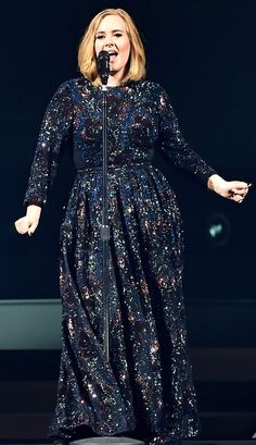 Adele in a sparkly black Burberry dress while kicking off her concert tour in Belfast