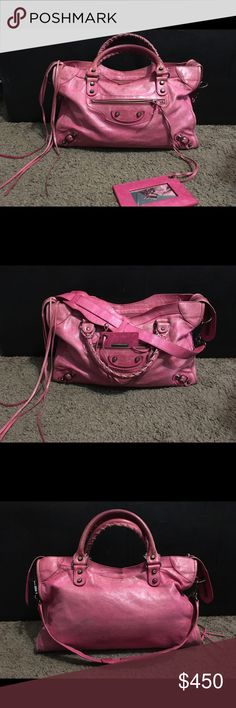 7f185a3935 BALENCIAGA the City 2way Satchel Bag Magenta Pink Such a fun color and just  FABULOUS BAG
